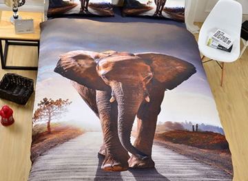 Vivilinen 3D Elephant Printed Polyester 3-Piece Bedding Sets/Duvet Covers