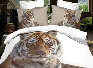 Vivilinen Popular Golden Tiger Print 4-Piece Polyester 3D Duvet Cover Sets