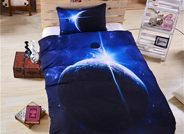 Vivilinen 3D Celestial Body Printed Polyester 3-Piece Blue Bedding Sets/Duvet Covers