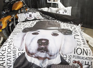 Vivilinen 3D Dog with Hat Printed Polyester 4-Piece Bedding Sets/Duvet Covers