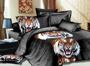 Vivilinen Fashion Roaring Tiger Print 3D 4 Piece Polyester Bedding Sets