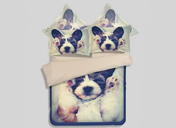 Vivilinen Sleepy Pup 3D Printed 4-Piece Polyester Duvet Cover Sets