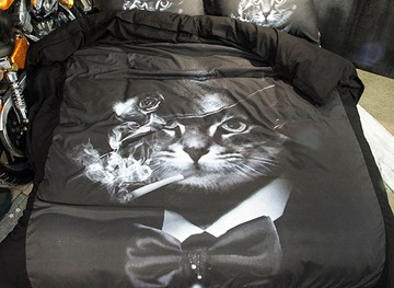 Vivilinen 3D Smoking Cat with Bowknot Printed Polyester 4-Piece Black Bedding Sets/Duvet Covers