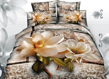 Vivilinen 3D Magnolia with Jacobean Printed Cotton 4-Piece Bedding Sets/Duvet Covers