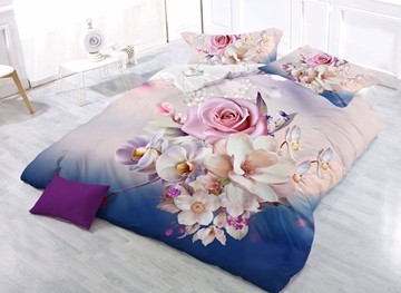Vivilinen Charming Pink Rose and Magnolia Print 4-Piece Polyester Duvet Cover Sets