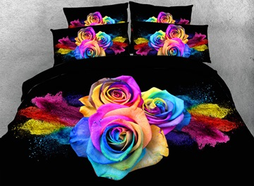 Vivilinen 3D Colorful Roses Printed Cotton 4-Piece Bedding Sets/Duvet Covers