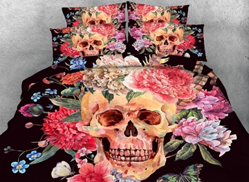 Vivilinen 3D Skull with Flowers Printed Cotton 4-Piece Black Halloween Bedding Sets/Duvet Covers