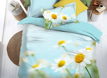 Vivilinen Beautiful 3D Daisy Print 4-Piece Duvet Cover Sets
