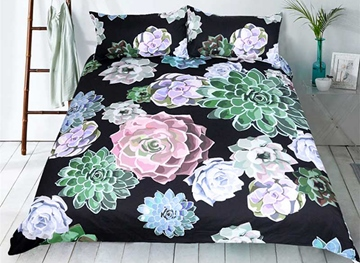 Vivilinen 3D Succulent Plant Printed Polyester 3-Piece Black Bedding Sets/Duvet Covers