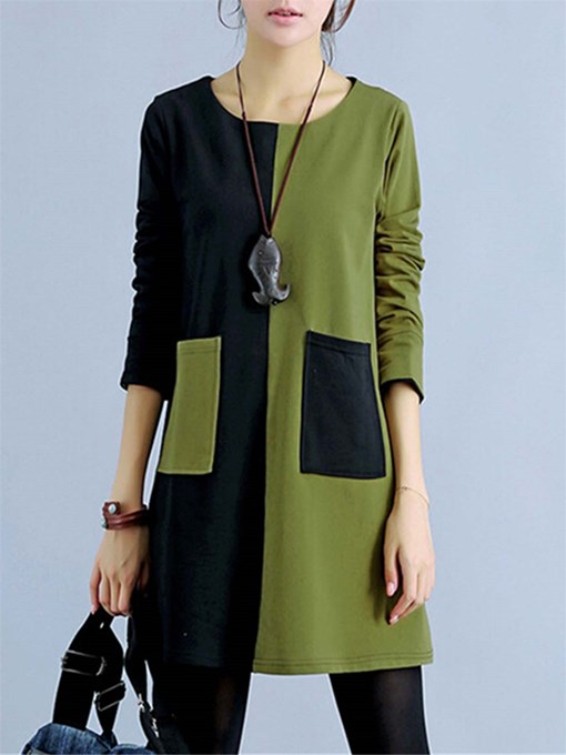 Ericdress Patchwork Color Block Mori Girl Casual Dress
