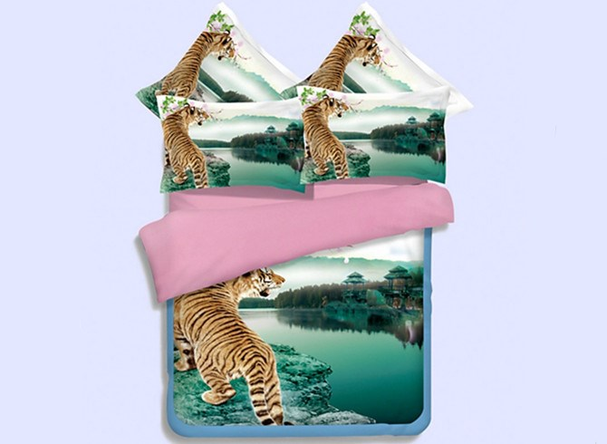Vivilinen Imperial 3D Tiger Printed 4-Piece Polyester Duvet Cover Sets