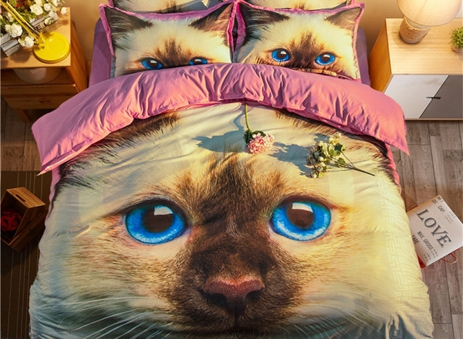 Vivilinen Lovely Balinese Cat Print 4-Piece Polyester Duvet Cover Sets