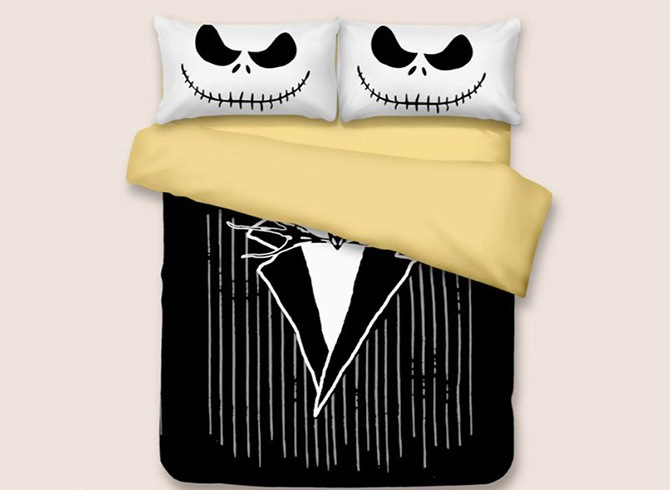 Vivilinen 3D Black Suit Printed Halloween Polyester 3-Piece Black Bedding Sets/Duvet Covers