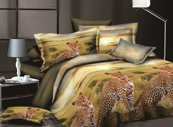 Vivilinen African Leopard 3D Printed Polyester 4-Piece Bedding Sets