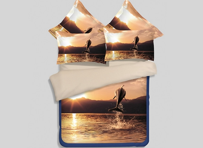 Vivilinen Amazing Dolphin with Sunset Scene 4-Piece Polyester Duvet Cover Sets