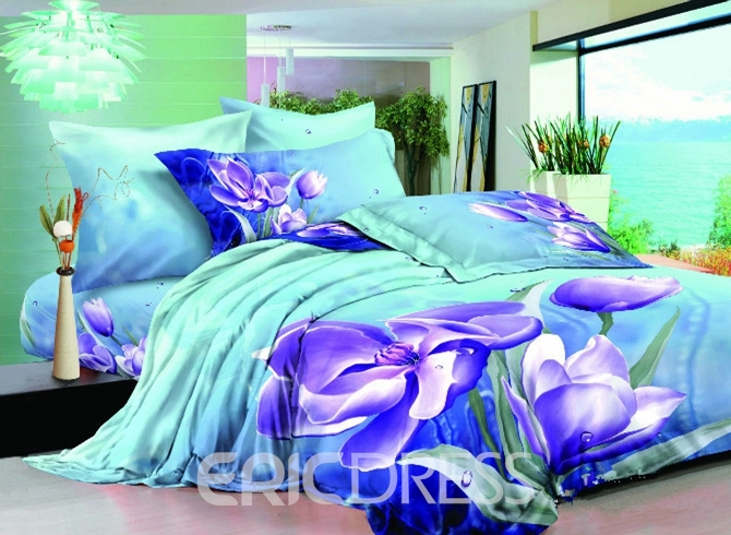 Vivilinen 3D Purple Clematis Florida Cotton 4-Piece Bedding Sets/Duvet Covers