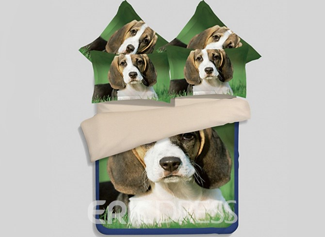 Vivilinen Lovely Beagle Puppy Printed 4-Piece Polyester Duvet Cover Sets