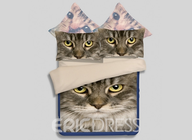 Vivilinen 3D Kitty Printed 4-Piece Polyester Duvet Cover Sets