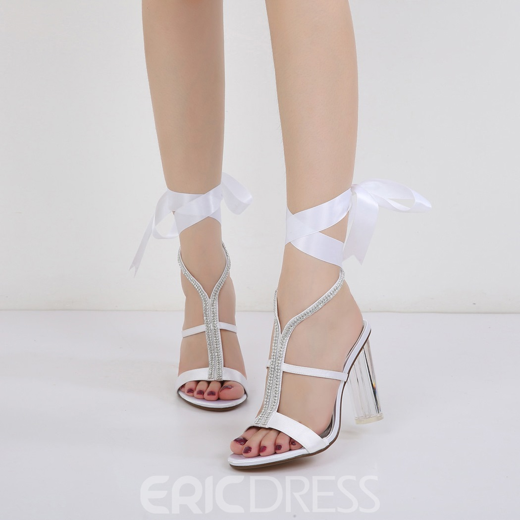 270198841fe Ericdress Rhinestone Ribbon Strappy Clear Chunky Heel Wedding Shoes (12972303)
