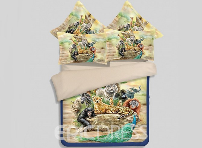 Vivilinen Amazing 3D Animal Printed 4-Piece Polyester Duvet Cover Sets