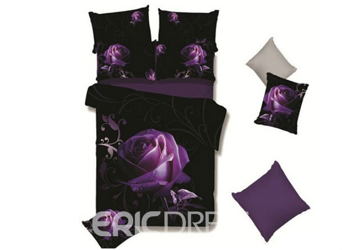 Vivilinen A Big Purple Rose with Grapevine Print 4-Piece Polyester Duvet Cover Sets