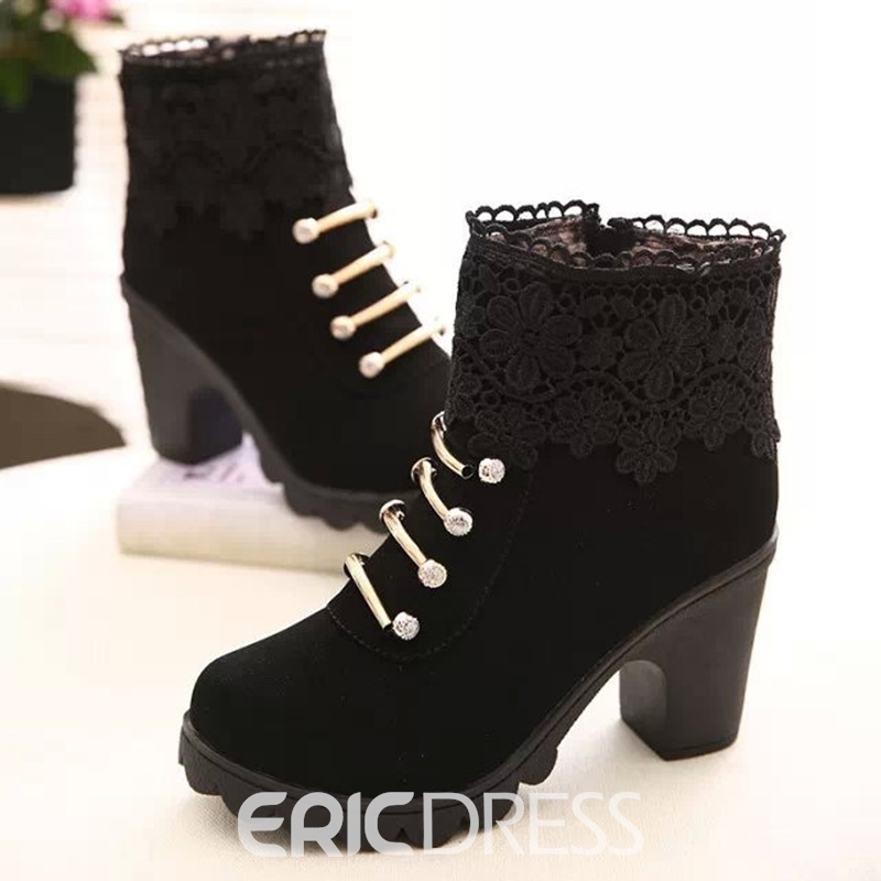 Ericdress Modern Lace Patchwork Ankle Boots