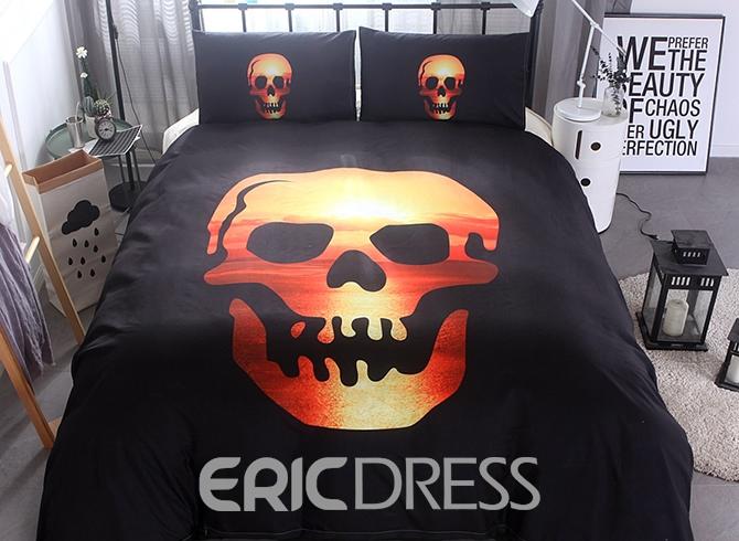 Vivilinen 3D Skull and Sunset Scenery Printed Polyester 3-Piece Black Bedding Sets/Duvet Covers