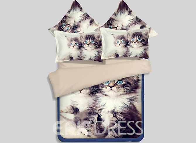 Vivilinen Cute Maine Coon 3D Printed 4-Piece Polyester Duvet Cover Sets