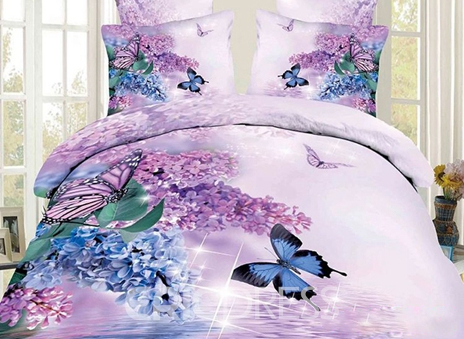 Vivilinen 3D Butterfly and Lilac Printed Cotton 4-Piece Bedding Sets/Duvet Covers