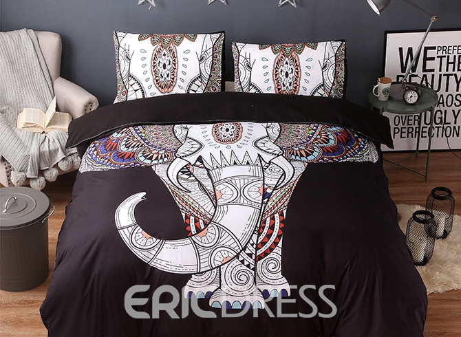 Vivilinen 3D Elephant Printed Boho Style Polyester 3-Piece Black Bedding Sets/Duvet Covers