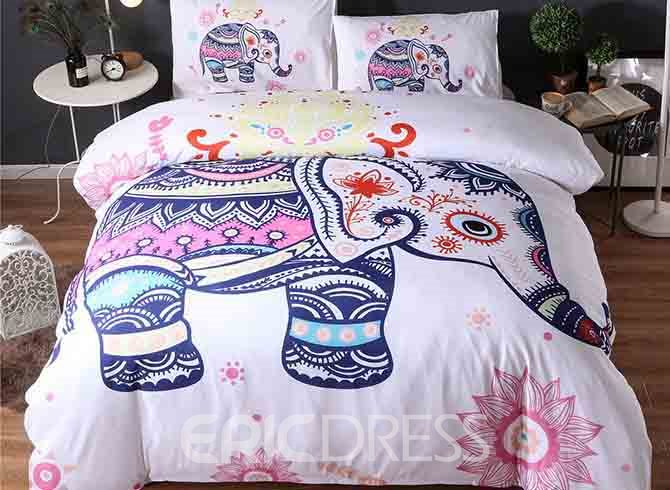 Vivilinen 3D Elephant Zentangle Style Printed Polyester 3-Piece White Bedding Sets/Duvet Covers