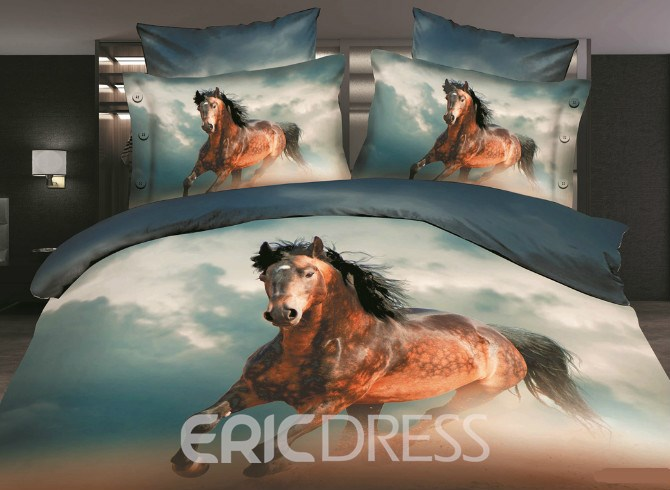 Vivilinen Brown Wild Horse 3D Printed Polyester 4-Piece Bedding Sets