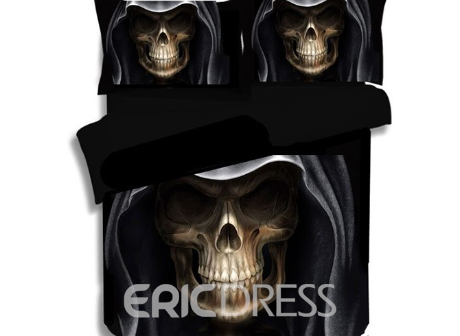 Vivilinen 3D Hip Hop Skull Printed Polyester 3-Piece Black Bedding Sets/Duvet Covers