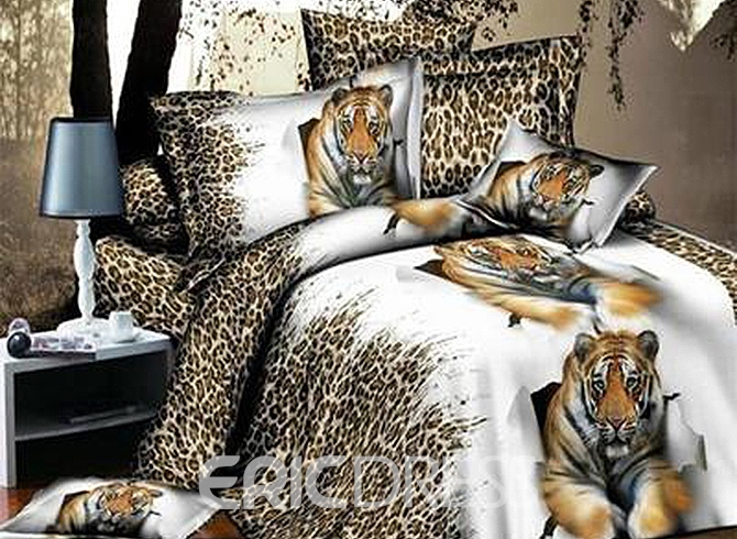 Vivilinen Lying Tiger with Leopard Background Print 4-Piece Polyester 3D Duvet Cover