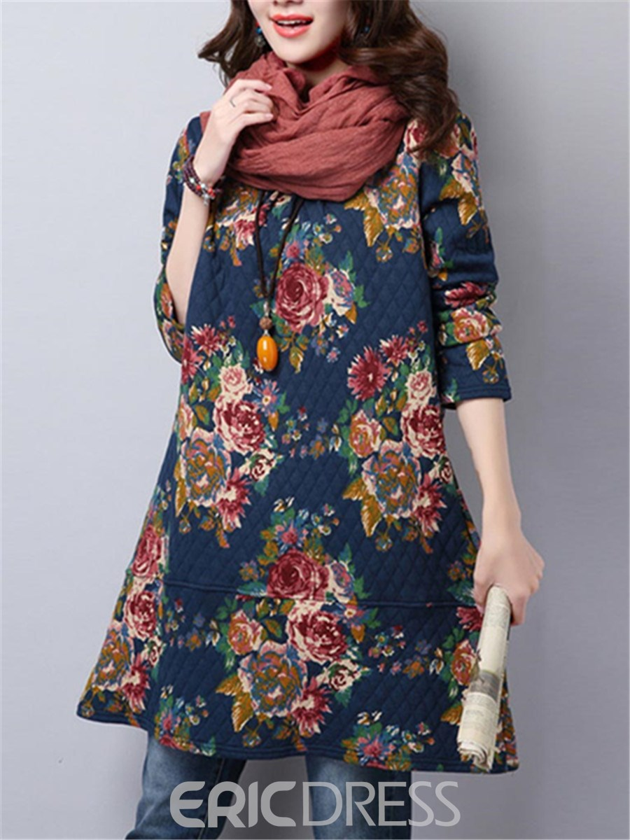 Ericdress Floral Print Mori Girl Long Sleeve Dress