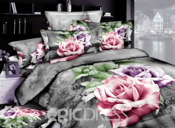 Vivilinen 3D Pink and Purple Roses Printed Cotton 4-Piece Bedding Sets/Duvet Covers