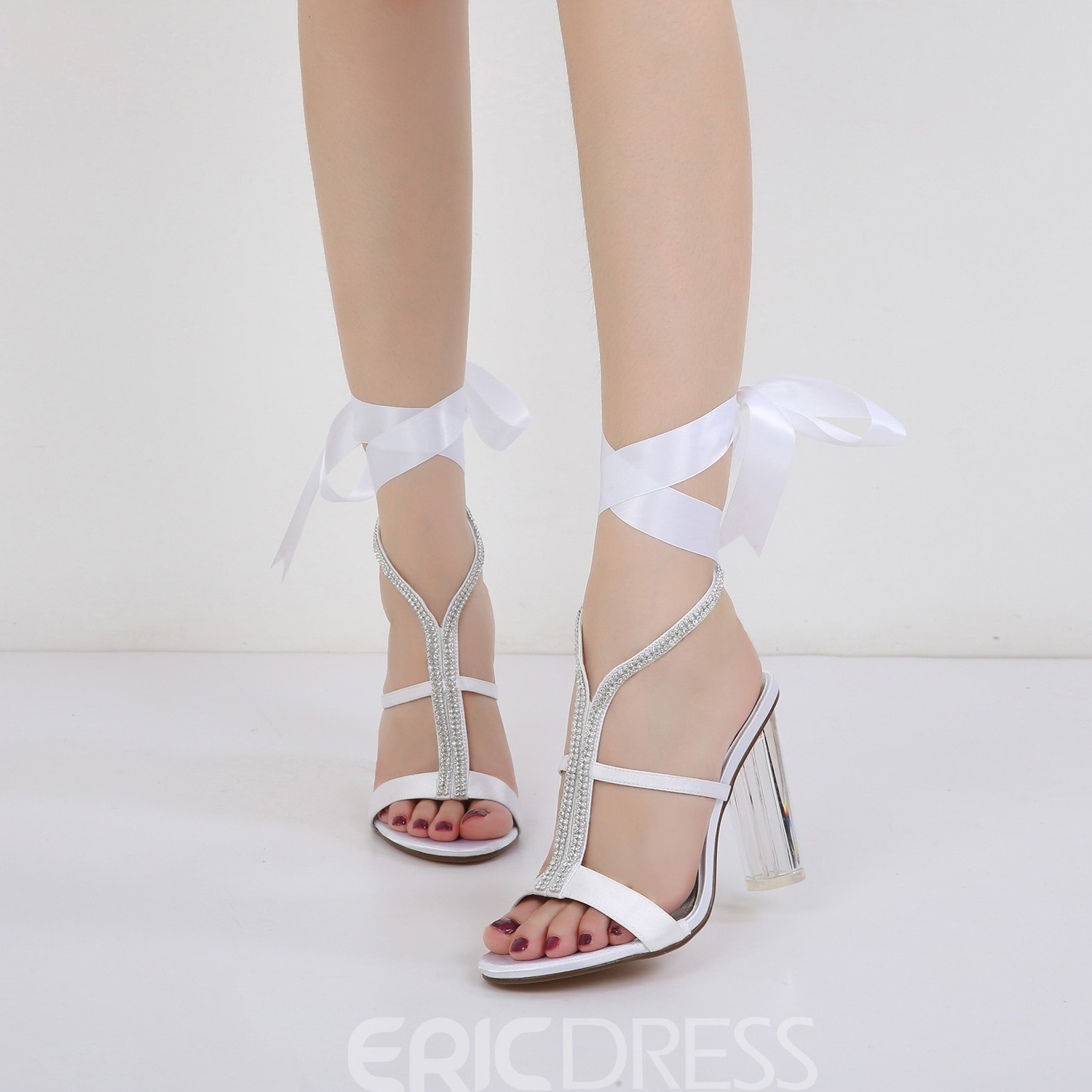 Ericdress Rhinestone Ribbon Strappy Clear Chunky Heel Wedding Shoes (12972303) 9bf6ff705917