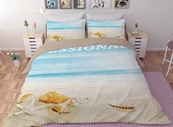 Vivilinen 3D Starfish and Shells Printed Polyester 4-Piece Bedding Sets/Duvet Covers
