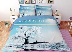 Vivilinen 3D Tree with Hard Rime Printed Polyester 4-Piece Bedding Sets/Duvet Covers
