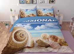 Vivilinen 3D Conch and Shells Printed Polyester 4-Piece Bedding Sets/Duvet Covers
