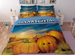 Vivilinen 3D Happy Thanksgiving Day Turkey Printed Polyester 4-Piece Bedding Sets/Duvet Covers