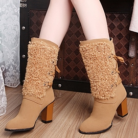 Ericdress Fuzzy Lace-Up Plain Chunky Heel Boots