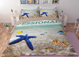 Vivilinen 3D Blue Starfish and Tropical Fish Printed Polyester 4-Piece Bedding Sets/Duvet Covers