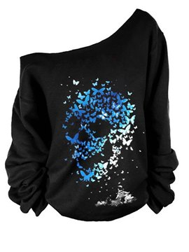 Ericdress Halloween Gradient Print Oblique Collar Cool Hoodie