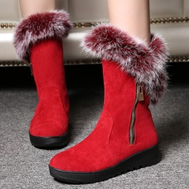 Ericdress Winter Fuzzy Round Toe Plain Snow Boots