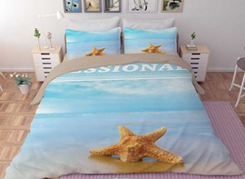 Vivilinen 3D Starfish in the Sand Printed Polyester 4-Piece Bedding Sets/Duvet Covers