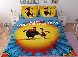 Vivilinen 3D Running Turkey Printed Polyester 4-Piece Bedding Sets/Duvet Covers