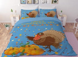Vivilinen 3D Turkey and Pumpkin Printed Polyester 4-Piece Bedding Sets/Duvet Covers