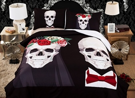 Vivilinen 3D Skull Wedding Printed Polyester 3-Piece Black Bedding Sets/Duvet Covers