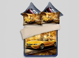 vivilinen yellow running car print 4-teiliges Bettbezug aus Polyester